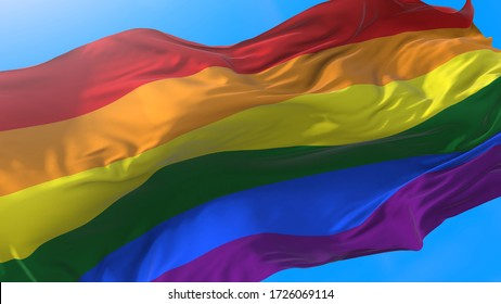 Rainbow 3D flag, LGBT pride 3D flag or gay pride 3D flag waving at wind,. 3D flag symbol of freedom, peace, and equality. Lesbian, gay, bisexual, transgender, and queer (LGBTQ).