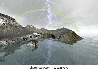Rainbow, 3d rendering, an autumn landscape, rain and lightning, rocks and stones and a cloudy sky.
