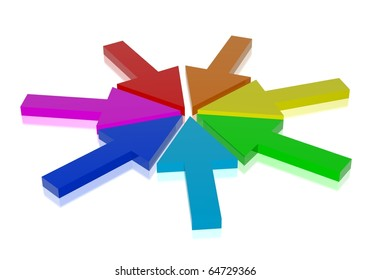Rainbow arrows directed to the center
