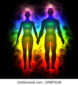 Rainbow aura of woman and man