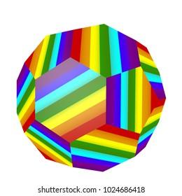 Rainbow buckyball isolated on white background. Children's toy. Rainbow style, 3d illustration