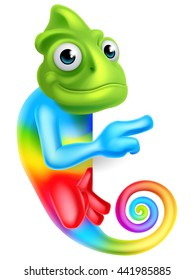 A rainbow cartoon chameleon lizard character mascot pointing at a sign board