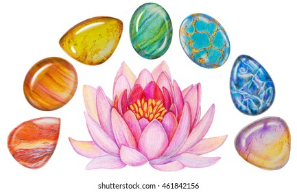 Rainbow Chakra Lotus Stone Set for Meditation. Hand drawn illustration of Chakra Healing Crystals with pink lotus flower.