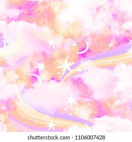 Rainbow And Cloud Galaxy Print