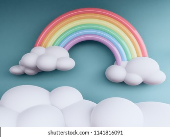 rainbow with clouds  pastel background , 3d render