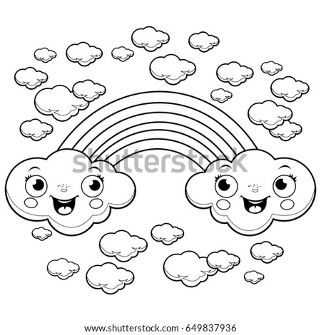 Rainbow Clouds Sky Black White Coloring Stock Illustration Royalty