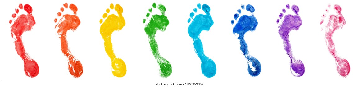 Rainbow color human footprints set white background isolated close up, colorful watercolor foot print illustration collection, barefoot footstep, bare feet stamp, imprint, ink drawn mark, sign, symbol