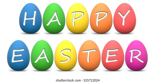 Rainbow colored easter eggs with Happy Easter text isolated on white 3D rendering