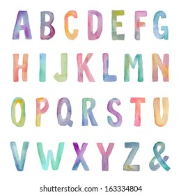 Rainbow Colored Painted Colorful Watercolor Alphabet on Isolated White Background