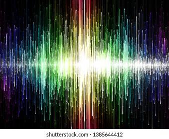 Rainbow colored sound waves, digital illustration