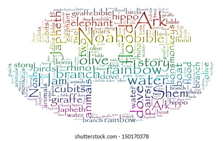 Rainbow colored word cloud image of Noah's Ark isolated on white.