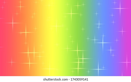 Rainbow colorful background with stars