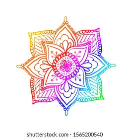 rainbow colorful degrade mandala print