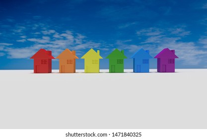 Rainbow colorful houses over blue sky and white background as a copy space. 3d illustration