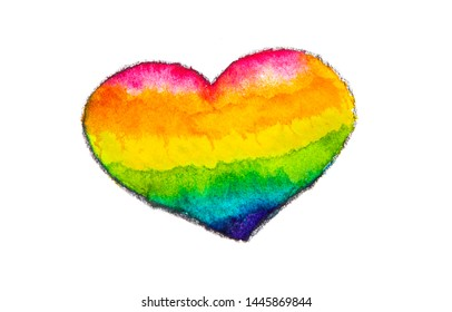 rainbow colorful watercolor of LGBT heart  isolated on white background