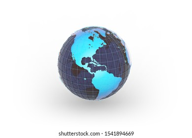 Rainbow Earth globe with dark blue glass oceans and blue wireframe grid between transparent blue continents 3D Illustration, isolated model, focused on the America continents.