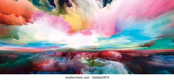 Rainbow Enlightenment. Escape to Reality series. Visually pleasing composition of surreal sunset sunrise colors and textures for works on landscape painting, imagination, creativity and art