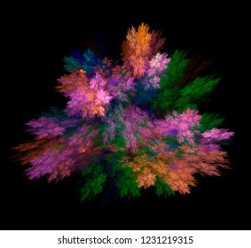 Rainbow explosion. Bright multicolored textural background. Fractal abstraction