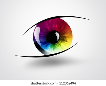 rainbow eye on a light background