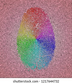 Rainbow fingerprint. Image composed entirely of words. 3D rendering