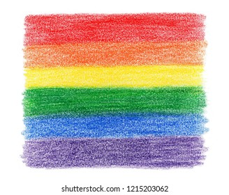 rainbow flag colored pencil texture on white background