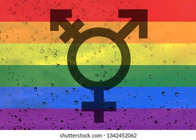 Rainbow flag on background with raindrops. Transgender Symbol. LGBT community concept.