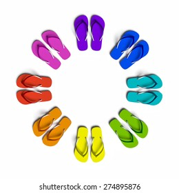 Rainbow flip flops in the circle. Isolated on the white.