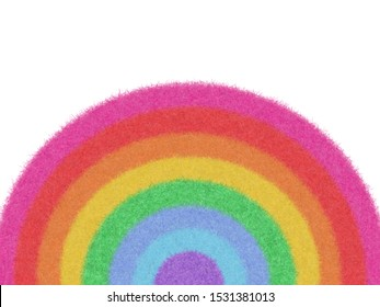 Rainbow Fur Feather texture design, use as a background or paper element scrapbook. Rainbow circle pattern abstract seven colors. 7 stripe colors fashion modern concept. Design by use photoshop brush.