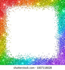 Rainbow glitter border frame on white background.