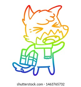 rainbow gradient line drawing of a angry cartoon fox with gift