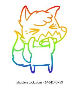 rainbow gradient line drawing of a angry cartoon fox