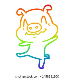 rainbow gradient line drawing of a cartoon drunk pig