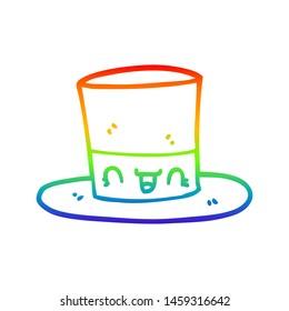 rainbow gradient line drawing of a cartoon top hat