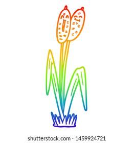 rainbow gradient line drawing of a cartoon bullrush