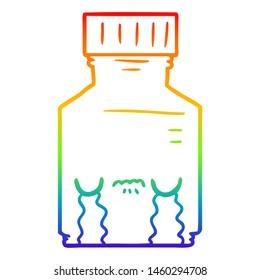 rainbow gradient line drawing of a cartoon pill jar