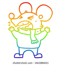 rainbow gradient line drawing of a cartoon angry mouse