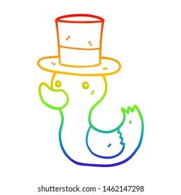 rainbow gradient line drawing of a cartoon duck wearing top hat