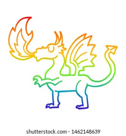 rainbow gradient line drawing of a cartoon red dragon