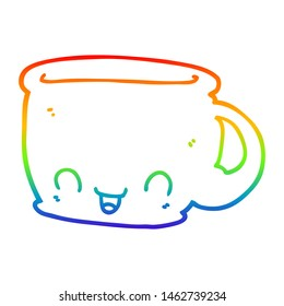 rainbow gradient line drawing of a cartoon cup of coffee