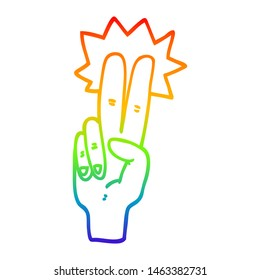 rainbow gradient line drawing of a cartoon peace sign