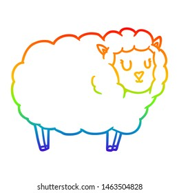 rainbow gradient line drawing of a cartoon sheep