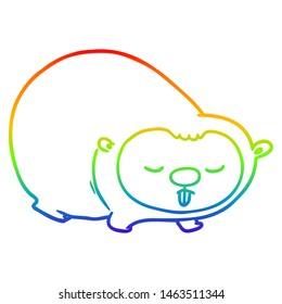 rainbow gradient line drawing of a cartoon wombat
