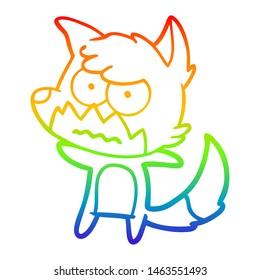 rainbow gradient line drawing of a cartoon annoyed fox