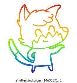 rainbow gradient line drawing of a cartoon friendly fox