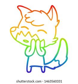 rainbow gradient line drawing of a cartoon fox