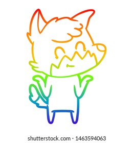 rainbow gradient line drawing of a cartoon happy fox