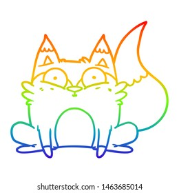 rainbow gradient line drawing of a cartoon startled fox