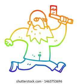 rainbow gradient line drawing of a cartoon man with bloody axe