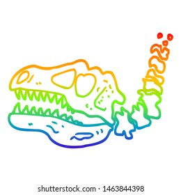rainbow gradient line drawing of a cartoon dinosaur bones