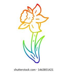 rainbow gradient line drawing of a cartoon daffodil